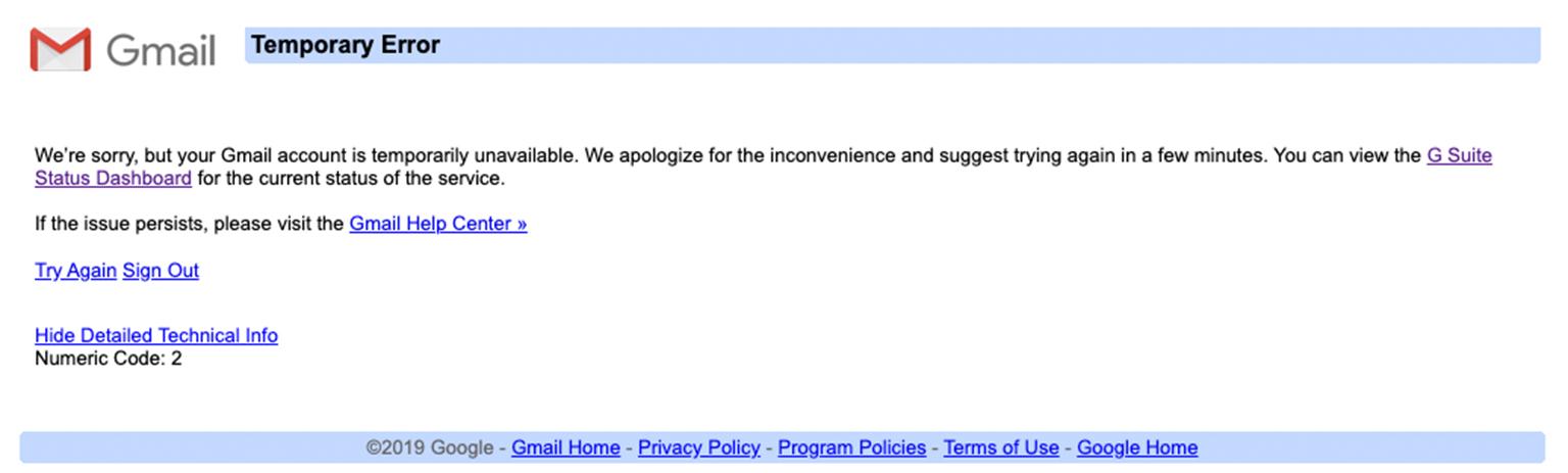 Gmail Temporary error 2
