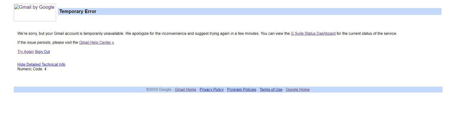 gmail error 4