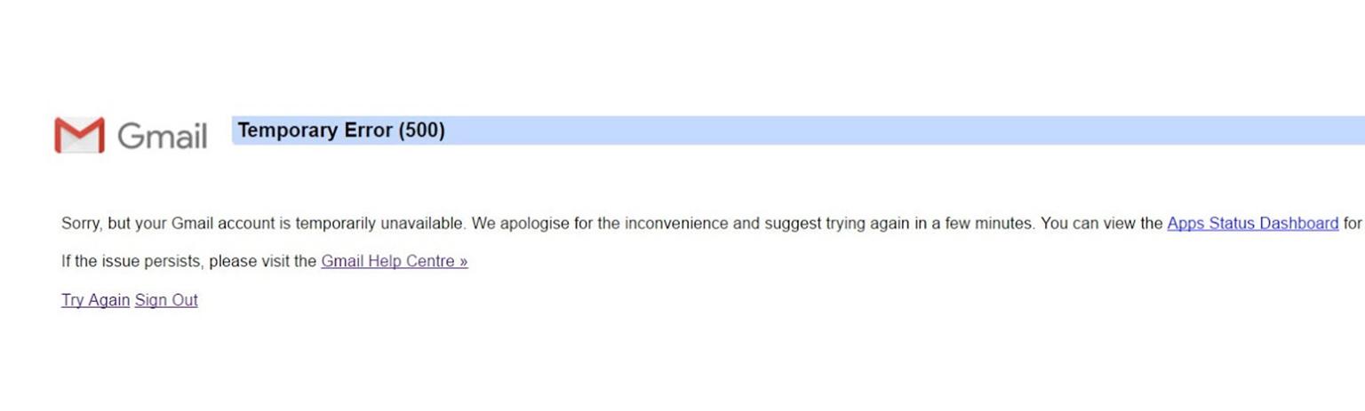 gmail error 500
