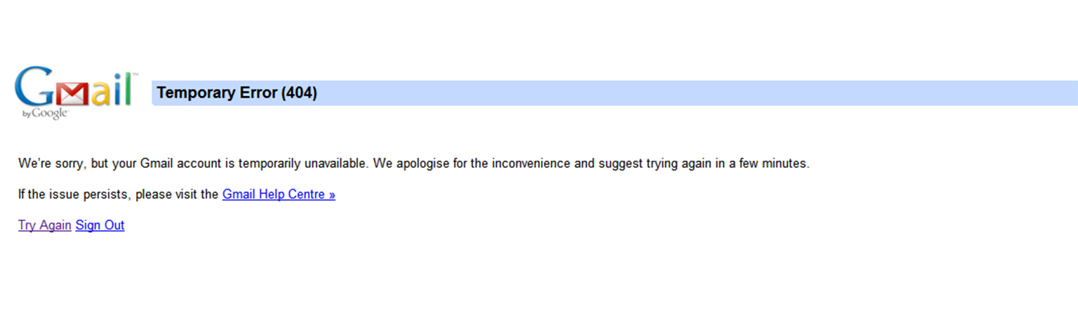 gmail temporary error 404